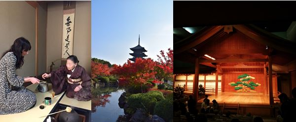 Aspects of Japanese culture: match tea ceremony lesson, Tō-ji Temple's five-storey pagoda- the tallest wooden tower in Japan, and the Noh theatre stage. Photos Courtesy of Hannah Bayley