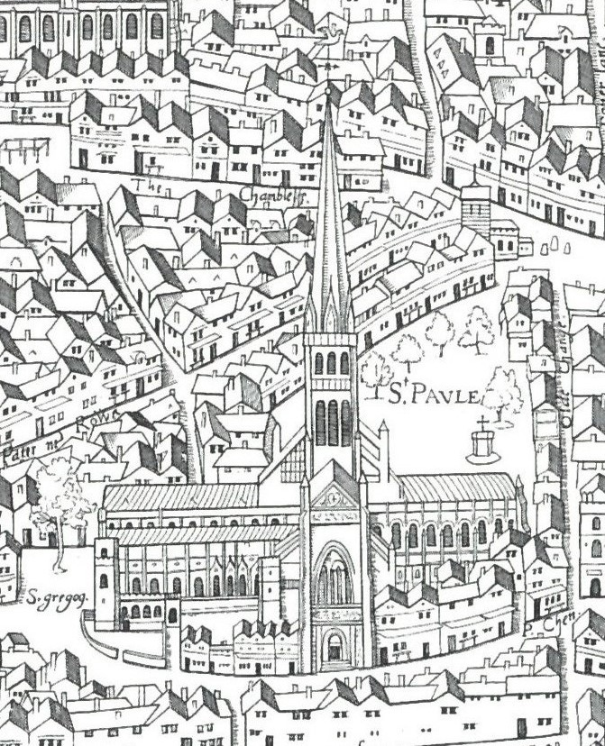 St Paul's Cathedral from the Copperplate map of London, 1550s circa 1553.