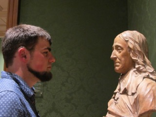 Thomas Tyrrell gazing at a bust in the Huntingdon Art Gallery - Photo Credit Thomas' Mum