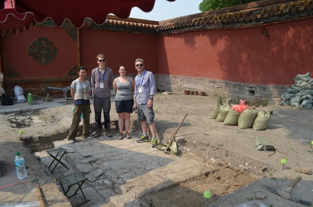 The Durham and Palace Museum team beside one of the excavations outside the Courtyard of Benevolent Tranquillity. (Photo Courtesy of Jack Smith RCUK China)