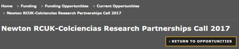 Newton RCUK-Colciencias Research Partnerships Call 2017